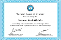 Turkish Board of Urology Certificate