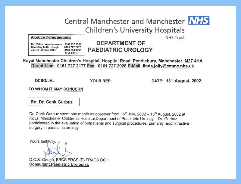 Central Manchester and Manchester Children's University Hospitals - Uroloji doktoru Cenk Gürbüz