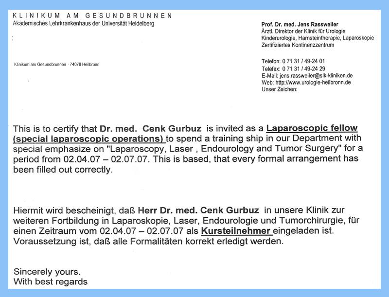 Klinikum am Gesundbrunnen - Uroloji Doktoru Cenk Gürbüz