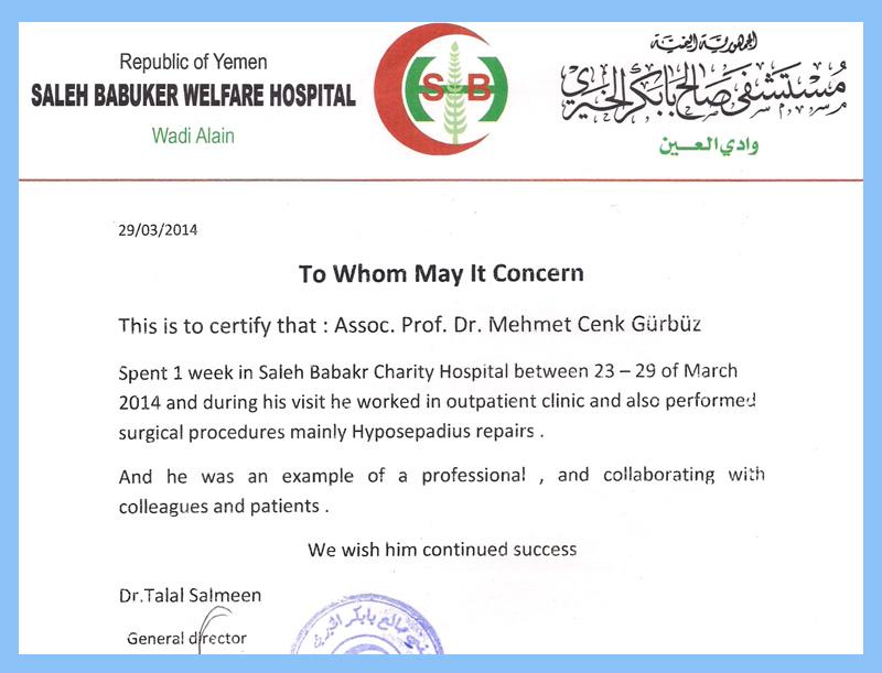 Saleh Babuker Welfare Hospital - Üroloji Doktoru Cenk Gürbüz