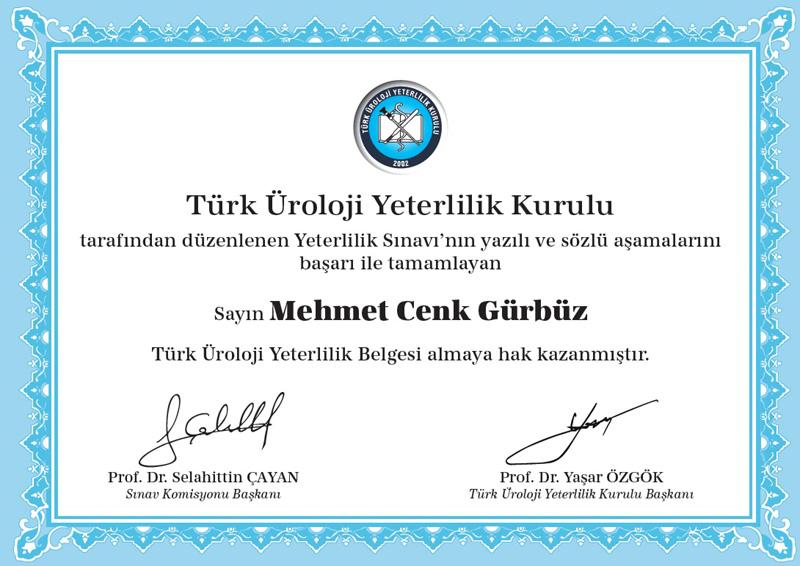 Türk Üroloji Yeterlilik Kurulu - Uroloji Doktoru Cenk Gürbüz